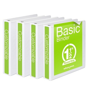 1 inch binders white 4 pack 1 inch or 2 inch size only we will not