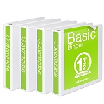 2 inch Binders, White, 4 Pack (1 inch -or- 2 inch size ONLY. We will not be offering any other sizes, please order accordingly to accommodate your needs.)